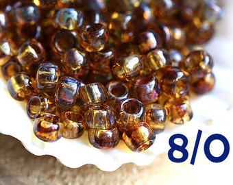 TOHO Seed beads, size 8/0, Hybrid Natural Picasso, Y301, brown topaz round japanese glass beads - 10g - S721
