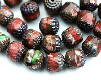 Cathedral Czech Glass beads mix in Red, Brown, Green, earthy colors, round fire polished beads - 10mm - 10Pc - 0495