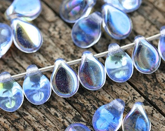 Blue PiP beads, AB finish, Sapphire Blue czech glass flat drops, top drilled, Preciosa, teardrops,  5x7mm - 40Pc - 2829