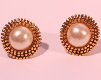BOUCHER Vintage 70s Faux Pearl Earrings Gold Tone Earrings Clip On Earings Numbered