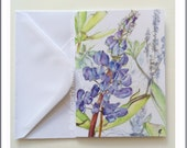 Art Card - Botanical Card - Graduation Gift - Wedding - Blue - Purple - Flower -  Lupin Flowers - Fine Art Card