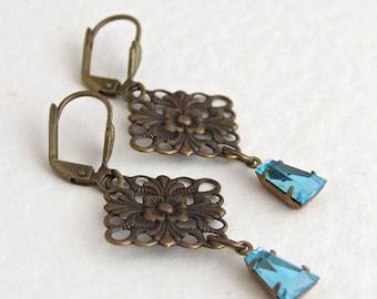 Turquoise Filigree Earrings .. blue earrings, aqua earrings, art deco
