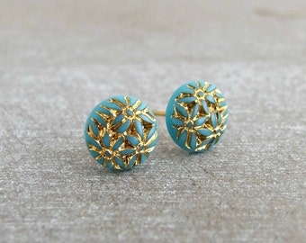Turquoise and Gold Earrings ..  blue earrings, small blue studs, blue post earrings