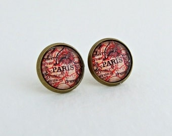 Paris Map Earrings .. map studs, map earrings, traveller, France, map, small earrings