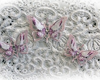 Reneabouquets Butterfly Set - Ice Princess Lavender Double Layered Butterflies, Scrapbook Embellishment,  Wedding, Party Decoration
