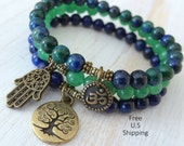 Yoga stack, set of 3, mala bracelets, Yoga bracelets, bracelet set, Reiki Charged, Lapis Lazuli, Aventurine, Chrysocolla, stacking bracelets