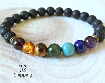 Mens seven Chakras, chakra bracelet, wrist mala, Reiki charged, Energy bracelet, boho bracelet, tribal bracelet, yoga bracelet, Mala