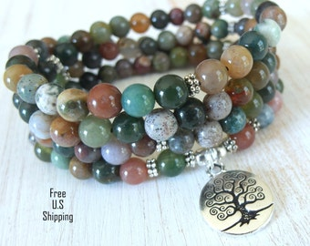 Tree of life, 108 Fancy Jasper, Mala beads, Bracelet or Necklace, Reiki charged, Buddhist Rosary, Prayer beads, Gemstone mala, Om mala, wrap