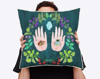 Megacosm Natural World Colourful Cushion Cover with Natural Linen Reverse and Pom Pom Trim