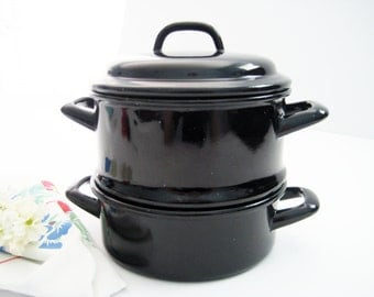 Vintage Enamel Steamer Set, 3 Quarts, 8 Inches Tall, 2 Handled Pans, Black and Light Gray - 1950's
