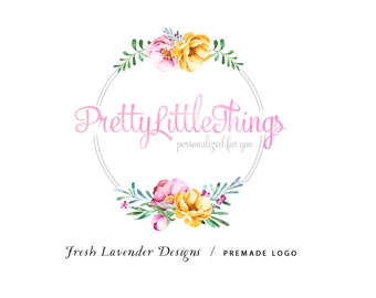Custom Logo Design Premade Logo and Watermark for Photographers and Small Businesses Bright Watercolor Partial Wreath Shabby Chic