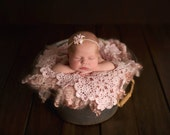 Newborn Baby Blanket,  Pink, Lace Layer, Photo Prop