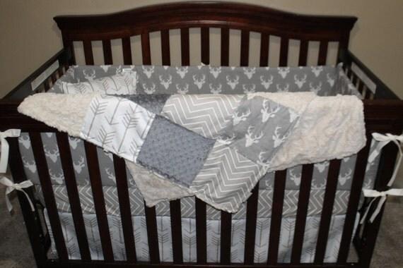 Baby Boy Crib Bedding Gray Buck Ecru Chevron White Tan