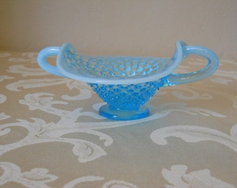 Vintage Fenton Hobnail Opalescent Blue Candy Trinket Dish with Handles