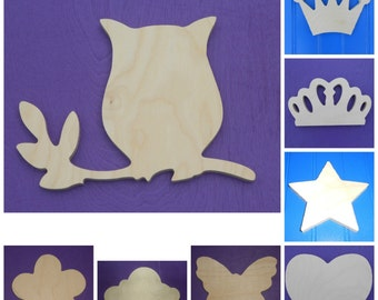 "Wood Shapes - 9"" Size - Fairy Tale -Unpainted Wooden - Wall Hanging Decor - Kids Craft - DIY Project - Multiple Options"