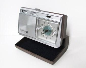 Vintage Travel Alarm Clock, Westinghouse Wind Up Clock and Radio, 1960's Folding Alarm Clock