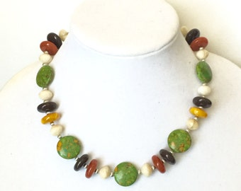 Green Turquoise Necklace, Green Mosaic Turquoise, Green and Neutrals, Beaded, Statement, Chunky, OOAK