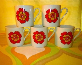 Vintage 1960s MID Century Modern Retro Red Flower Power Porcelain Coffee Tea Cups 5ct