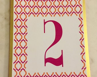Handmade Table Numbers 1 - 14 Gold Magenta Orange - Wedding Party Dinner Bohemian Mediterranean Mid Century Style Hipster -  bright colors