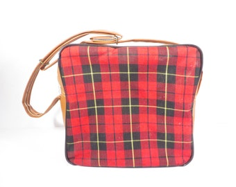 Vintage Red Plaid Lunch Tote  - Vintage Red Plaid Bag Sandwich Tote