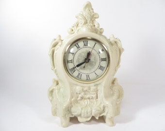 Mid Century Lancome Mantle Table Clock - French Style Mantle Clock with a Lanshire Clock Movement