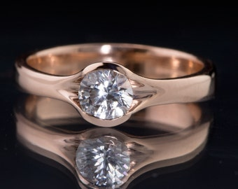 Round White Sapphire 14k Rose Gold Engagement Ring, Fold Solitaire Ring, Unique Half Bezel Sapphire Ring, ready to ship size 4.5 - 8