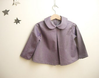 Purple peter pan blouse baby girl shirt top in pure cotton, with long sleeves. for spring, 2 years