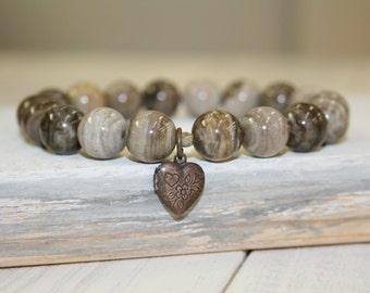 Gray Stretch Bracelet, Silver leaf jasper, 10mm, Heart Locket Charm, Gray stone bracelet, Gray stacking bracelet, Rustic Gemstone Bracelet