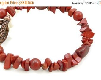 SALE Chunky Red Jasper Gemstone Bracelet - Sedona Red - Copper - Artisan Jewelry