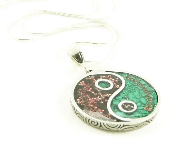 Orgone Energy Pendant Necklace - Large Yin-Yang Pendant with Sterling Silver Chain - Garnet and Malachite - Orgone Jewelry - Artisan Jewelry