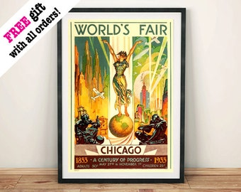 WORLD'S FAIR POSTER: Vintage Chicago Event Advert Reproduction Art Print Wall Hanging