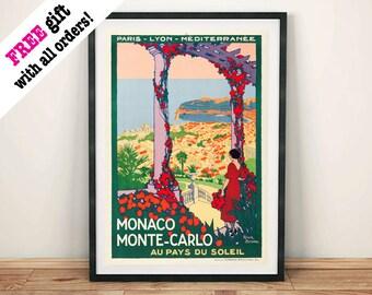 MONACO TRAVEL POSTER: Vintage Monte Carlo Advert Art Print Wall Hanging