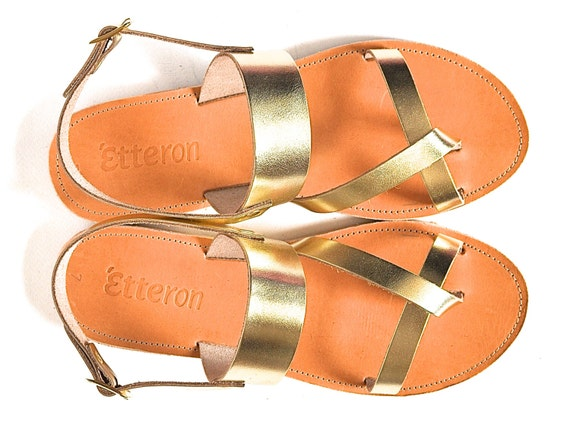 Leather Sandals / Classic cross straps women sandals with ankle strap / Greek Handmade sandals / Leather out soles