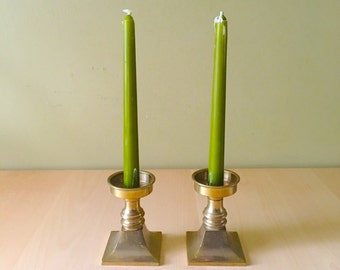 Solid Brass Square Candlestick Holders