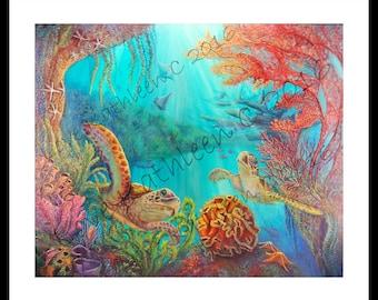 Sea Turtle Print  Modern Beach Decor Ocean Decor Palette Knife Thick Impasto Sea Turtle Painting Print - by Kathleen Fenton