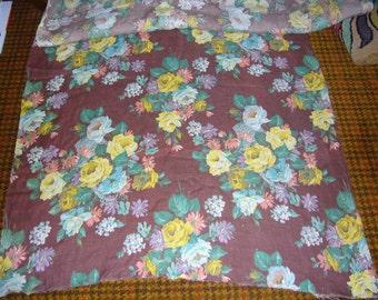Vintage Linen Floral Fabric 6 yards