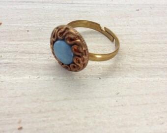 Ring boho recyclingfashion upcycling retro golden jewelry antique vintage