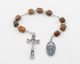Holy Souls Chaplet, Brown Stone Beads, Holy Souls in Purgatory - Catholic Chaplet Prayer Beads - Powerful Intercessors, Ora Pro Nobis
