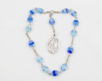 Chaplet Little Crown of the Blessed Virgin Mary - Blue & White Swirled Czech Glass Beads, flat ovals - Our Lady of Lourdes, Saint Bernadette