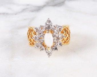 Vintage Rhinestone Opal Gold Lattice Ring / Size 6 / Costume Jewelry