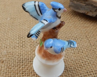 Maruri Masterpiece Blue Jay Figurine  ~  Maruri Masterpiece Bone China Blue Jay Figurine  ~  Small Blue Jay Figurine  ~  Miniature Blue Jay