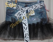 SALE - Size 10 Ready to Ship - Denim Tutu Skirt with rhinestone mustache applique and mustache ribbon