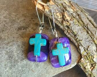 Purple Crazylace & Turquoise Cross Earrings - Crazylace Agate and Turquoise Cross Dangle Earrings by Adrienne Adelle