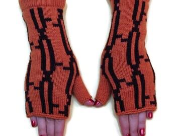 Orange wrist warmer - armwarmer with multicolour stripes, arm fingerless, gloves, mittens, hand knitted fingerless, woolen gloves
