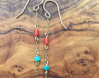 turquoise coral 14kt gold filled earrings