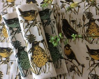 Tea towel- unbleached cotton. British birds 'Hedgerow' design by Lou Tonkin.