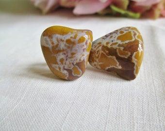 Vintage Earrings Stone Canyon Jasper Stone Earrings Vintage Jewelry By Vintagelady7