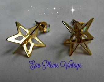 Earrings Goldtone Dangle Pierced Two Dimensional Stars Rhinestone