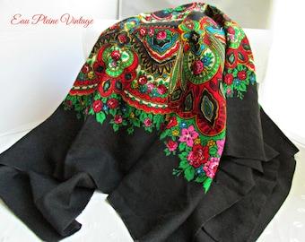 Black Wool Russian Polish Ukranine Folk Head Scarf Shawl Babushka Roses Traditional Slavic Floral