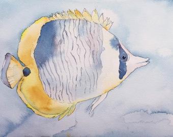 Butterflyfish Tropical Reef Fish Original Watercolor